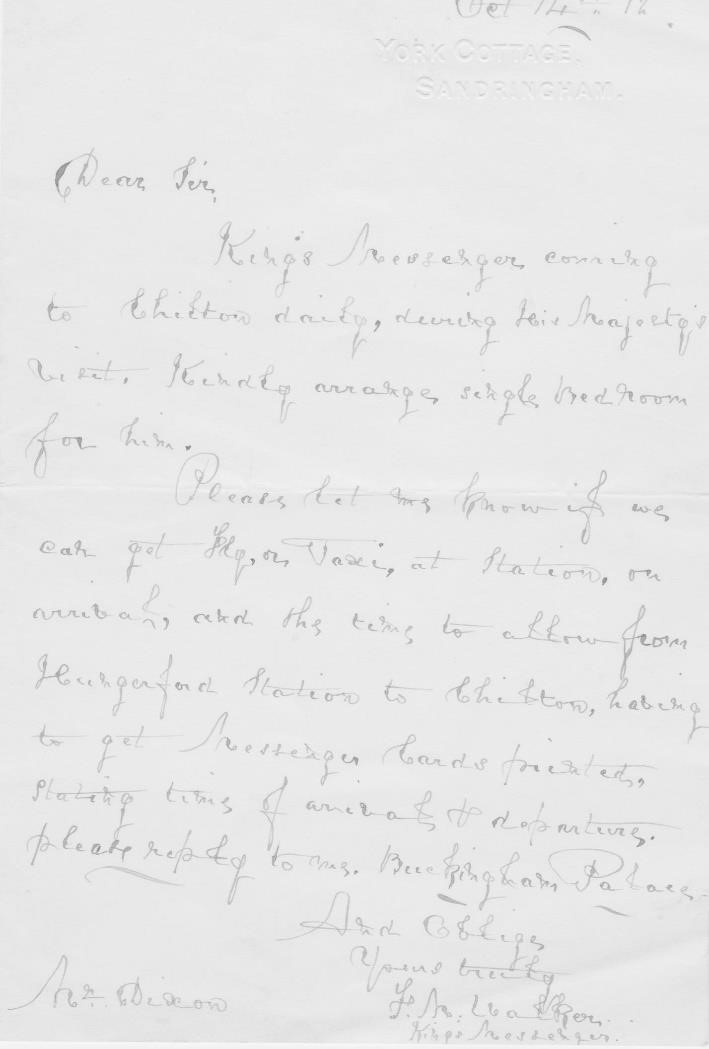 Letter to JWD from King's Messenger